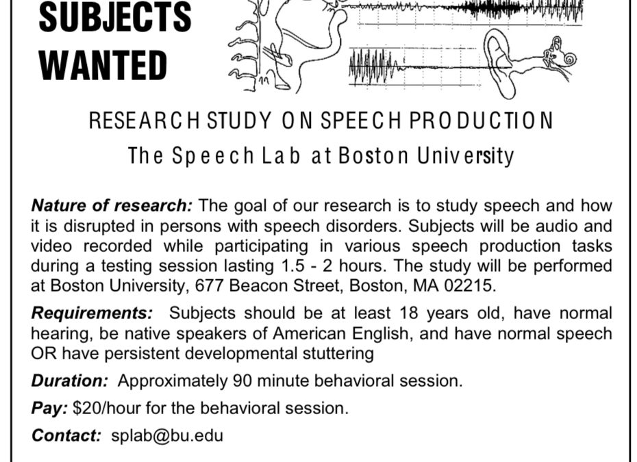 Invitation to Participate in a Study at the Speech Lab at Boston University